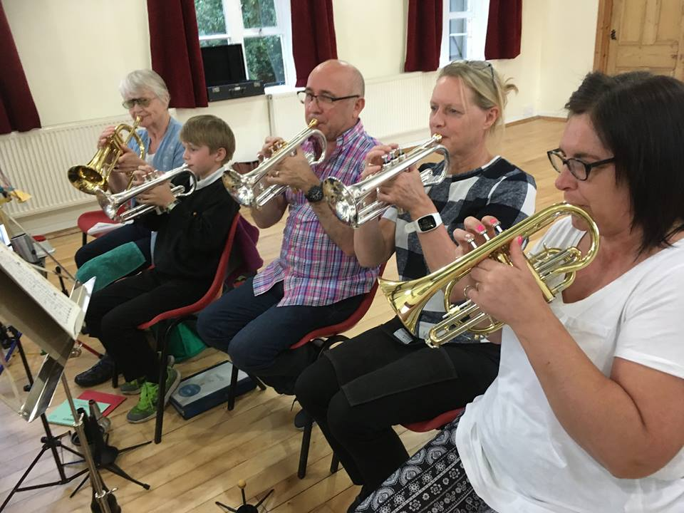 The Back row cornets, with Roger Webster