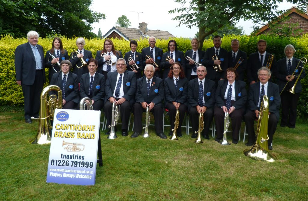 Cawthorne Brass Band posing with their instruments