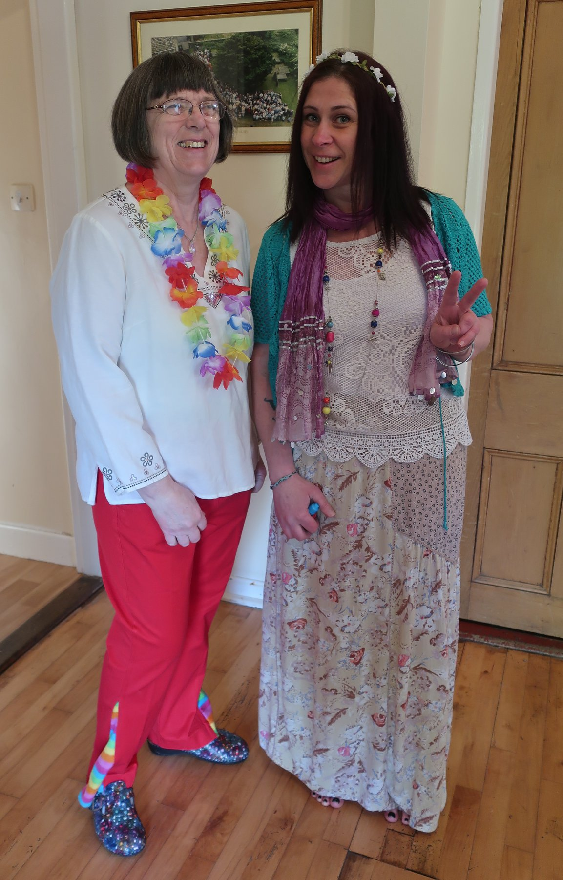 Margaret and Ellie with amazing extended flowery flares and full hippy chic