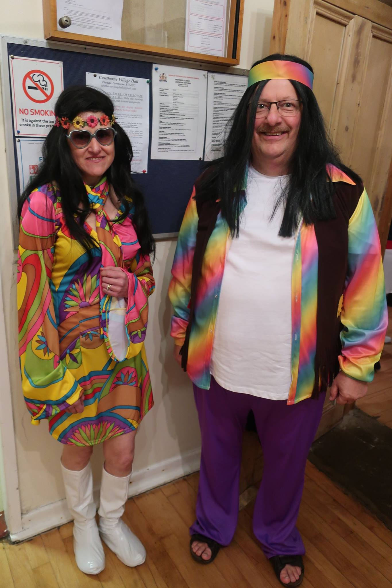 Alyson and Mick in psychedelic sixties style outfits