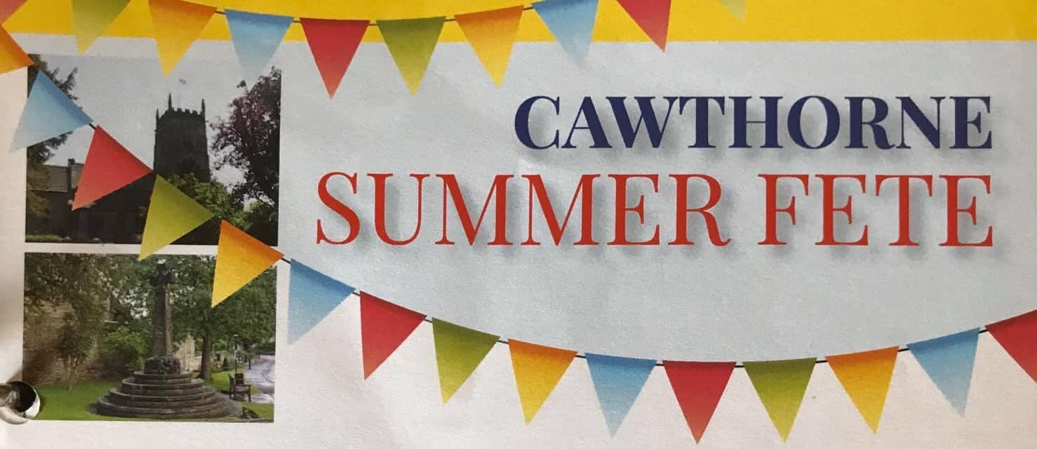 The words Cawthorne Summer Fete are surrounded by colourful bunting